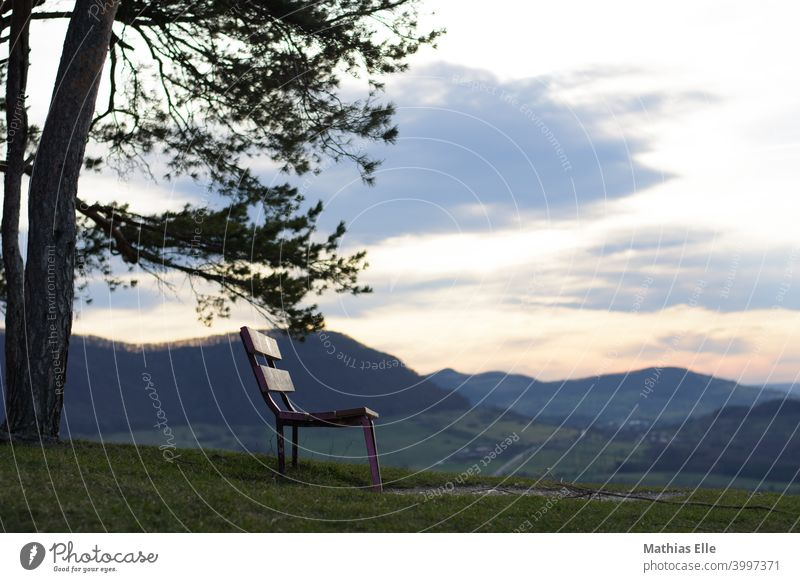Bench with view and mountains in the background Sit Nature Sunlight Sky time-out Break Freedom Looking Alb Swabian Jura Jawbone Meadow Evening Dusk Wooden bench