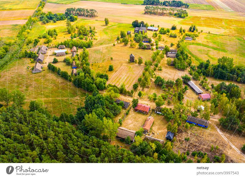 Maurzyce wooden architecture heritage park, antique building in open air museum. Lowicz, Poland aerial ancient castle christianity church country culture famous