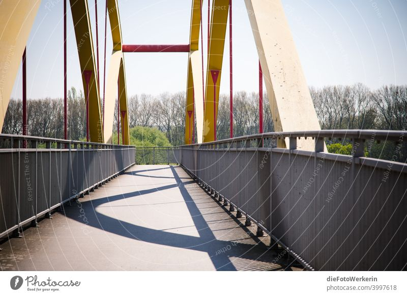 Clear shadows on a pedestrian and bicycle bridge Architecture Bridge colors Photography Bright Contents unsaturated Gray White Exterior shot Colour photo