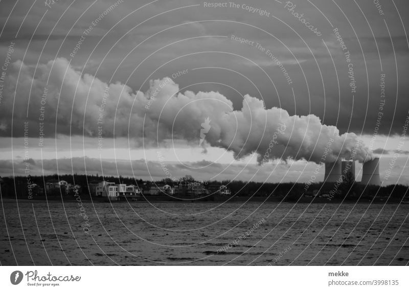 Power plant cloud in grey December weather Clouds power station cooling tower Lake cloudy Black & white photo Water Steam soiling Energy Lignite Wind Drift