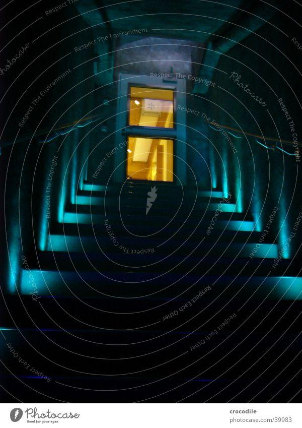 upstairs Illuminate Light Black Dark Architecture Blue Stairs