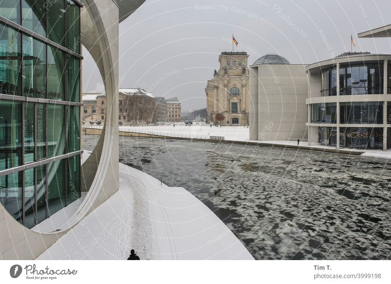 Winter in the Berlin government district Spree river cold government quarter Architecture Deserted River Water Germany Downtown Exterior shot Capital city Town