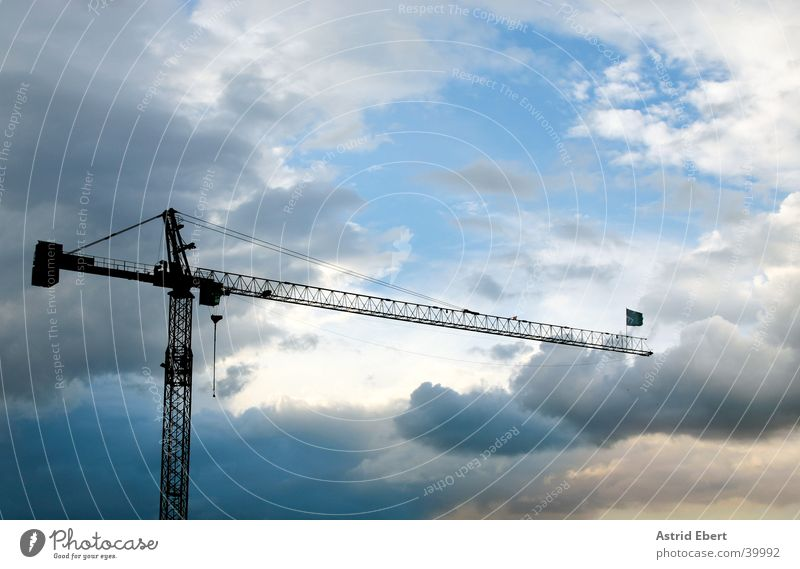 construction crane Crane Construction crane Clouds Sunset Industry Build Sky Weather Thunder and lightning