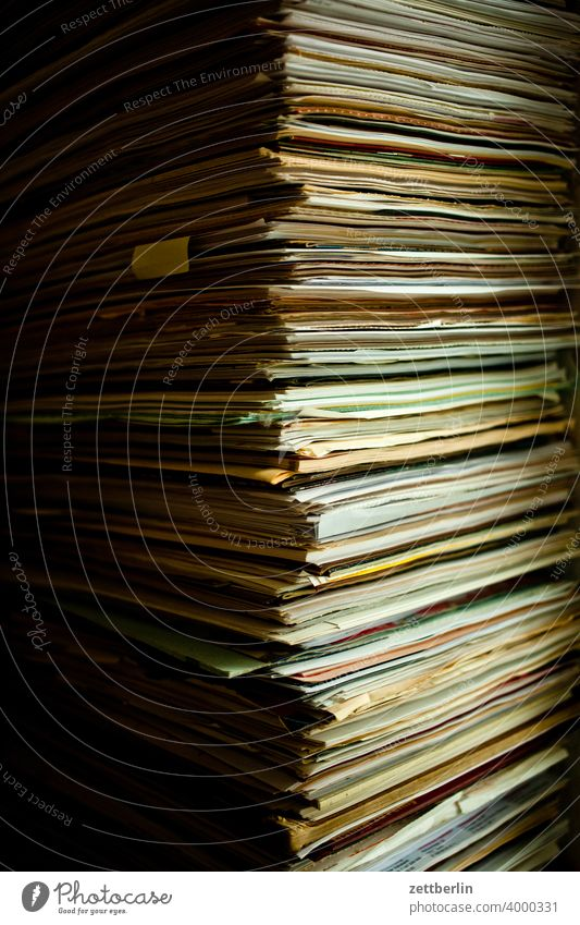 piles of paper files FILE STACK Waste paper Analog archive rest Letter (Mail) correspondence Office bureaucracy office sleep Digital File Data document