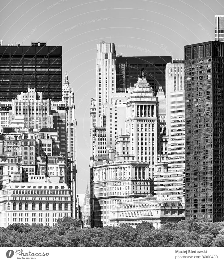 Black and white picture of Manhattan diverse architecture, New York City, US. city black and white new york building old modern NYC apartment office summer day