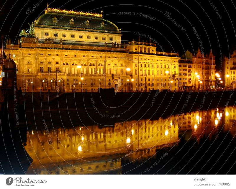 national theatre Prague The Moldau Building Night Light Concert Music National theater