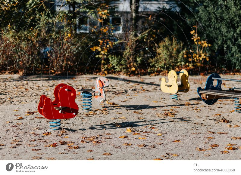 empty playground Playground Infancy Empty Playing Spring rocker Seesaw Autumn Toys Deserted