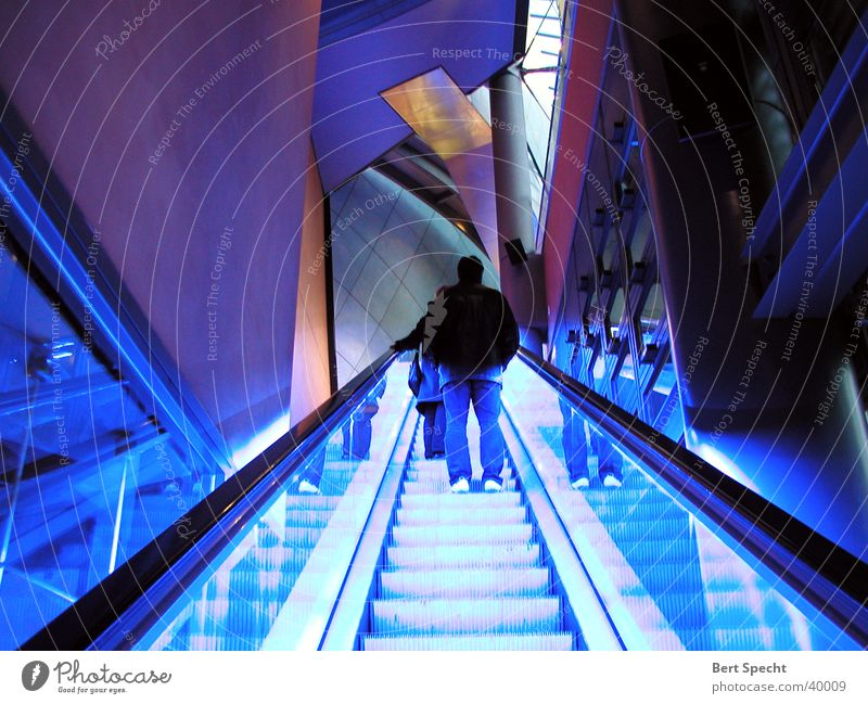 staircase Night shot Escalator Maximum Long exposure Neon light Architecture Berlin