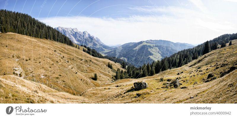 wanderlust Hiking Landscape Panorama (View) fresh air Mountain Vantage point Deserted Meadow Puristic Wanderlust travel Salzburg Land Feature Freedom