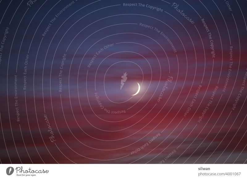 Oil painting crescent moon in the sunset Moon Post-photo Sunset Crescent moon steamy Red Blue blue hour Twilight Sky