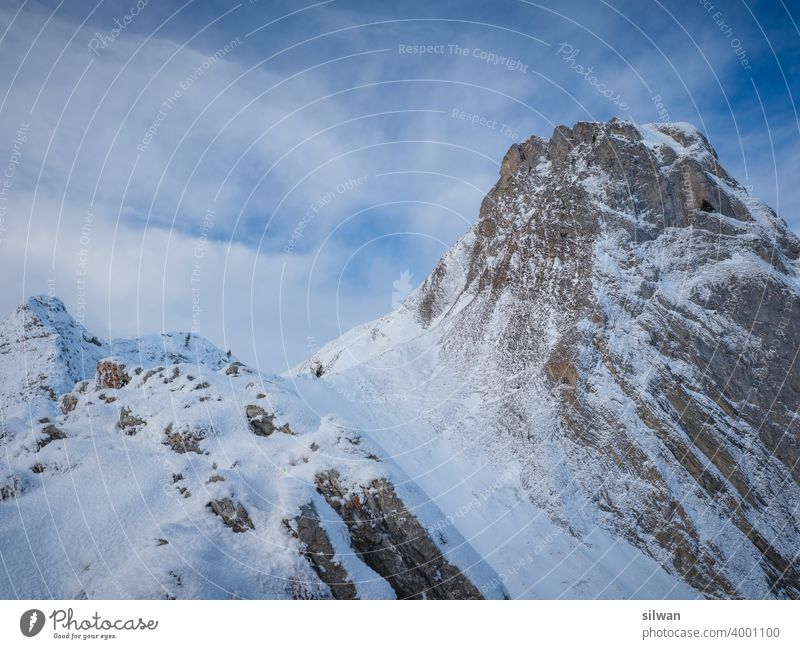 route to the top Ladder Pass Gantrisch Nature Park Snow Winter Frozen Cold Rock rocky winter frozen ground chill tightrope walk Mountain mountains