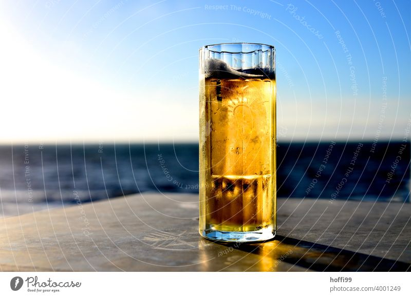 Beer in a glass at sunset by the sea Froth Beer mug Glass Thirst Beer glass Light Ocean Sunset Closing time after-work beer Drinking Beverage Alcoholic drinks