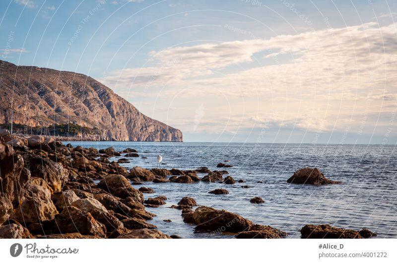 Mittelmeer Küstenlandschaft Nähe  Portosenso    Spanien background bay beach beautiful blue cliff coast coastal coastline destination europe hill horizon