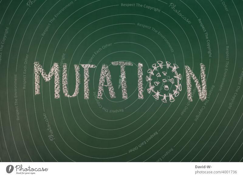 Corona and mutation coronavirus Virus pandemic peril Fear Quarantine Corona mutation Panic Word Blackboard Chalk