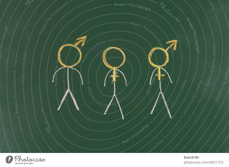 Transgender - Gender Body Man Woman Sexuality Human being Homosexual bisexual Freedom Equality Stick figure Chalk Blackboard tranny symbol pride Tolerant