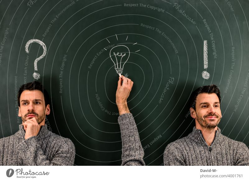 Question - Idea - Answer / The Solution solution Success concept incursion Electric bulb Creativity creatively ? ! question Know Blackboard Chalk Inspiration