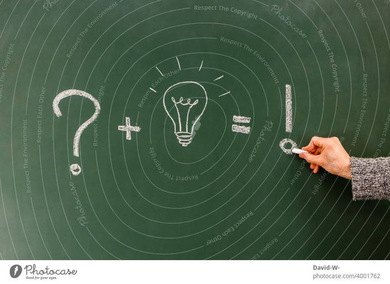 Concept - question / solution / answer presented on a board Success Answer Idea incursion Electric bulb creatively concept Education Blackboard Chalk Drawing