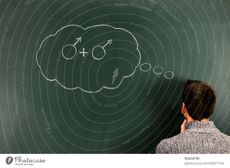homosexuality - man thinks about the same sex Homosexual Man Gender thoughts gay Sign Blackboard Chalk Identity concept Love Sexuality