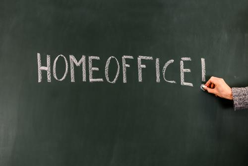 Home office / word on a blackboard home office coronavirus pandemic Word Write Blackboard Chalk concept Classification Effects Work and employment at home