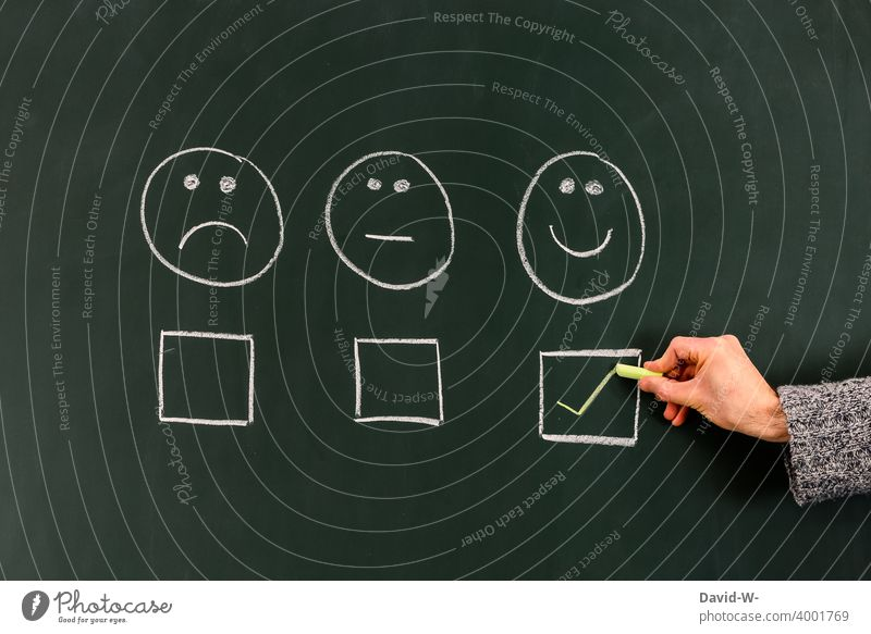 good mood / mood positive Smiley Good mood happy Happiness Moody well-being Blackboard Chalk Emotions Positive concept Optimism Contentment Poll Vote Sign