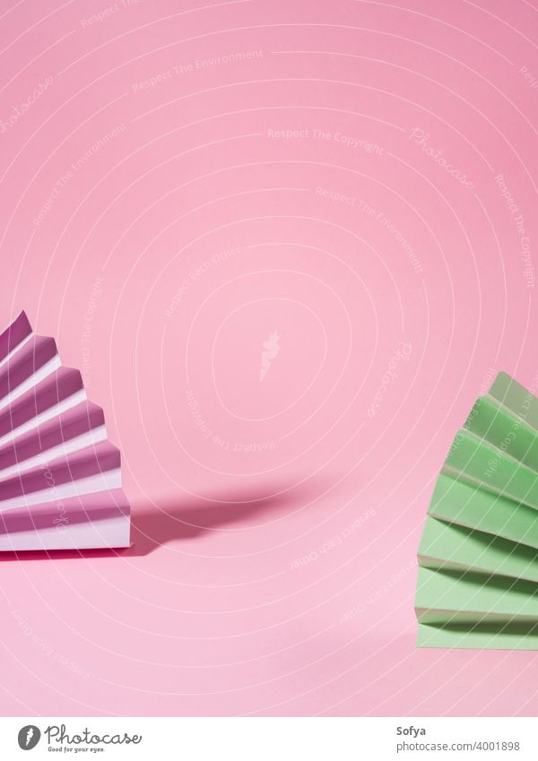Geometrical pink background with paper colorful fans beauty display mock up showcase chinese invitation design shadow geometry paper fan greeting card product