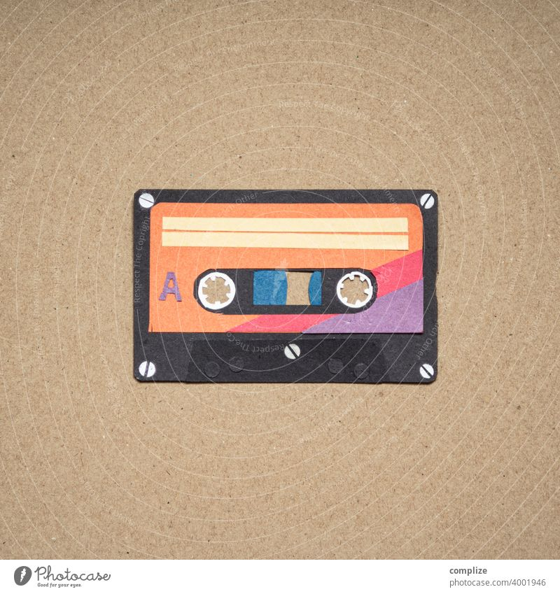 Cassette square flyers discotheque Party Clubbing hear sb./sth. silhouette Low-cut Paper paperboard retro style vintage 80s 70s mix tape Pop music original