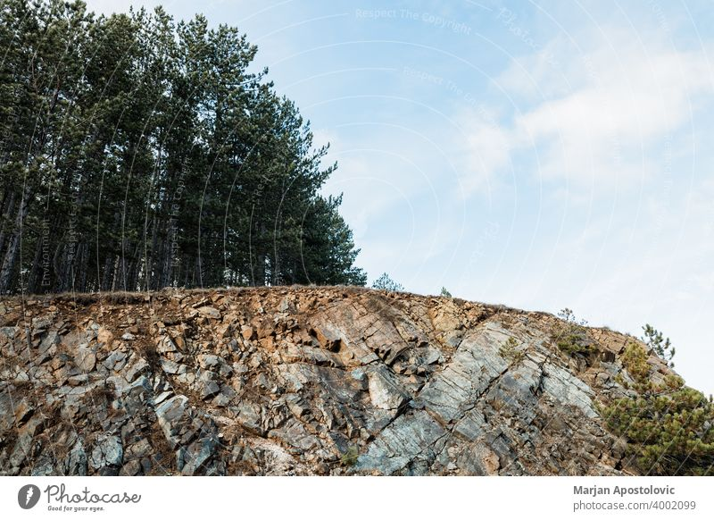 Rocky landscape of the forest in the mountains adventure background beautiful beauty blue cliff country countryside environment europe explore fir green hiking