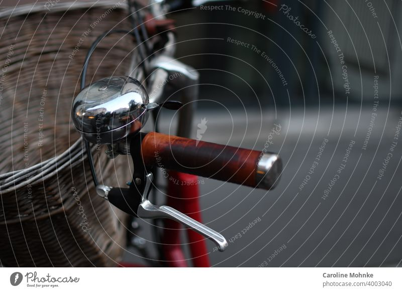 Bicycle handlebar with bell, handle and basket Cycling Exterior shot Colour photo Deserted Day Means of transport Transport Lanes & trails Road traffic