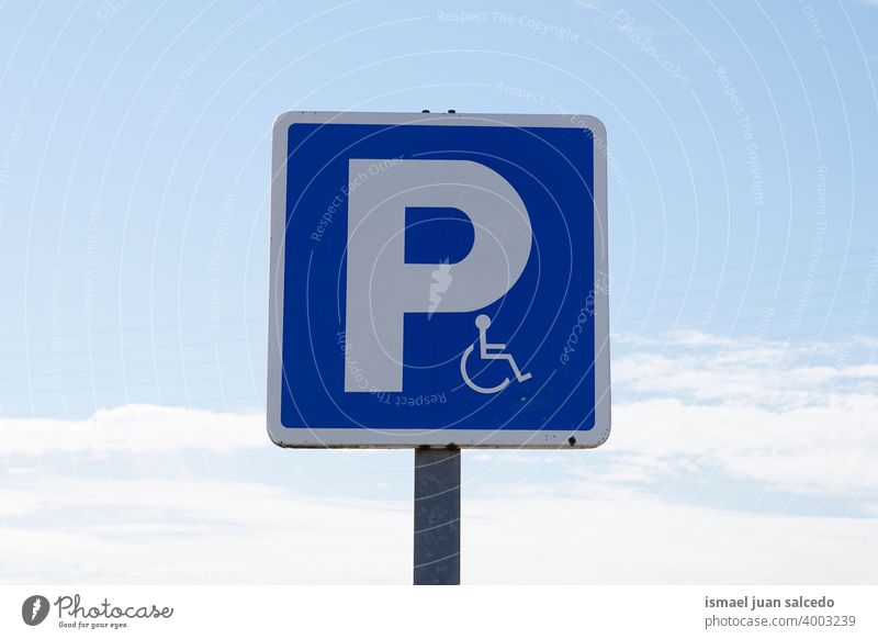 wheelchair traffic signal on the street in Bilbao city, Spain symbol disabled disabled sign parking accessibility care Access road road sing asphalt handicapped