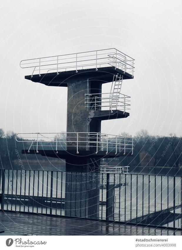 Diving tower in winter diving platform Swimming pool Water Swimming & Bathing Joy Aquatics Open-air swimming pool Jump Leisure and hobbies Exterior shot