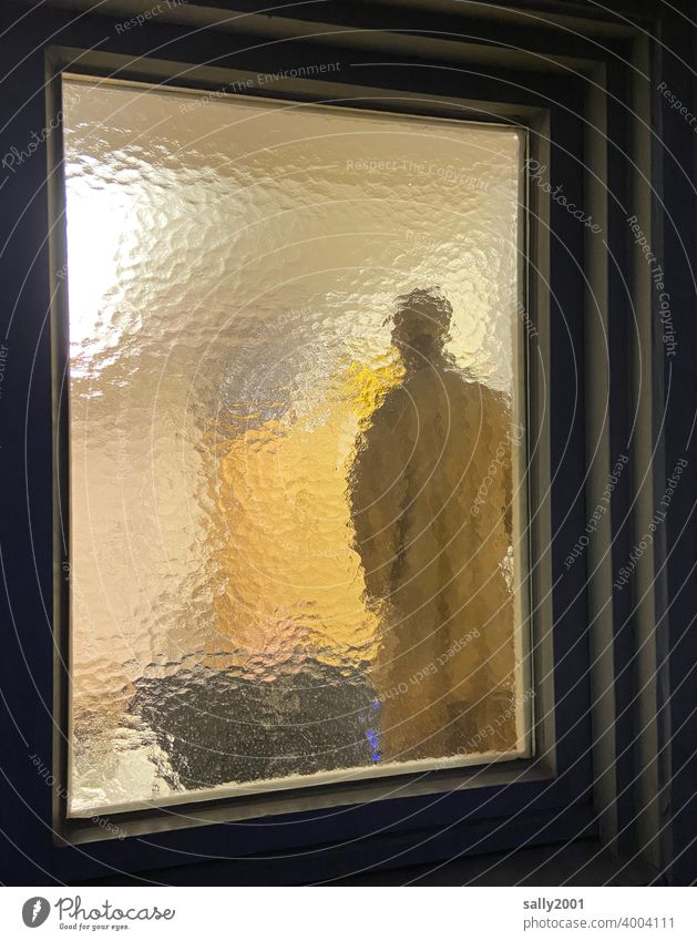 undetected behind glass... Frosted glass textured glass ornamental glass Window Window pane Glass Structures and shapes Multicoloured Insight Human being Figure