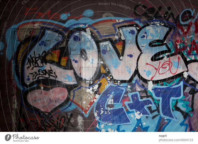 LOVE - Graffiti on wall in abandoned building Love Declaration of love Emotions With love Heart Display of affection Romance Relationship Together Infatuation