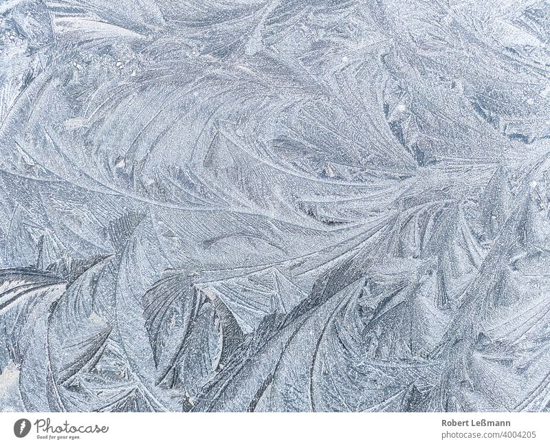 Frost on a surface, ice crystals Slice Ice Window Metal quick-frozen background Abstract Winter Snow Blue Frozen Water Season icily Snowflake Old areas Pane car