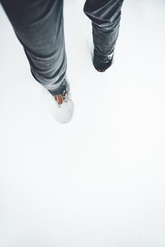 Man standing in high snow Snow Tall Footwear Winter White stroll onset of winter Snow layer Cold Hiking Winter mood