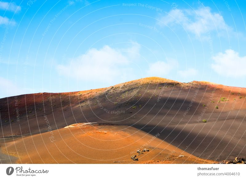 Vulcan, mountains on Lanzarote with sky Panorama (View) Shadow Light Day Exterior shot Colour photo Moody Calm Nature Adventure Climate Horizon Clouds Sky