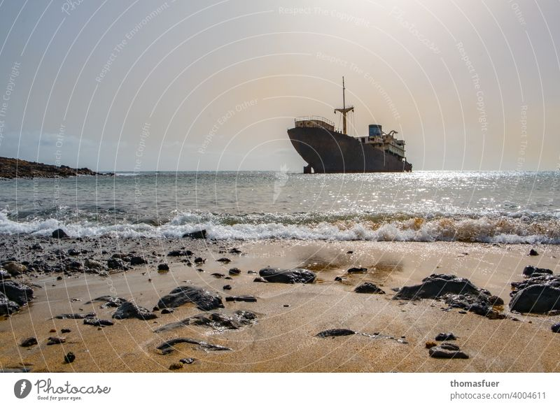 Wreck in front of empty beach with sky and sea Sunlight Contrast Shadow Light Day Exterior shot Colour photo world trade Rust Logistics Growth Navigation Ocean