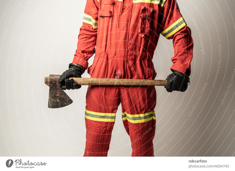 firefighter man on white background gear adult fireman service person portrait safety uniform protection yellow isolated caucasian occupation standing wearing