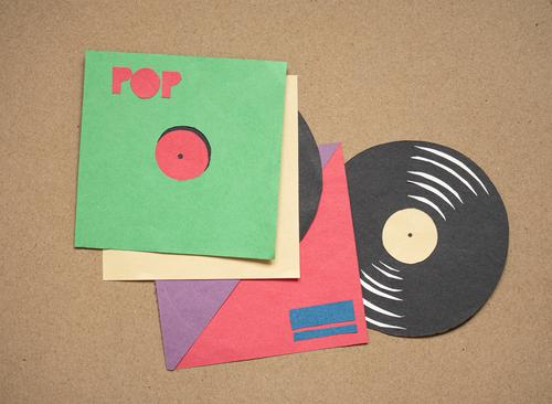 Vinyl records - silhouette eightier Club cassette taperecorder magnetic tape Retro Nineties Music Sound storage medium Concert Pop music original Former DJ 70s