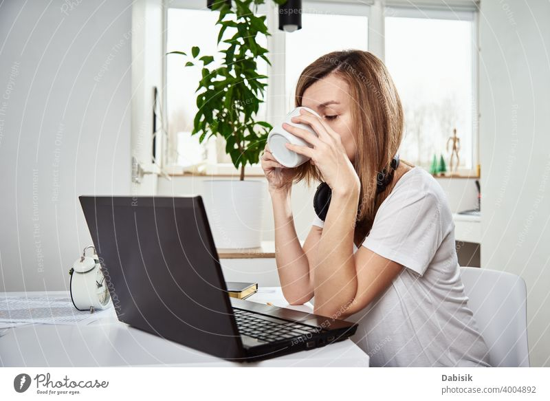 Freelancer works with laptop at home interior. Online job and remote work freelance woman business notebook computer idea organization creative online planning