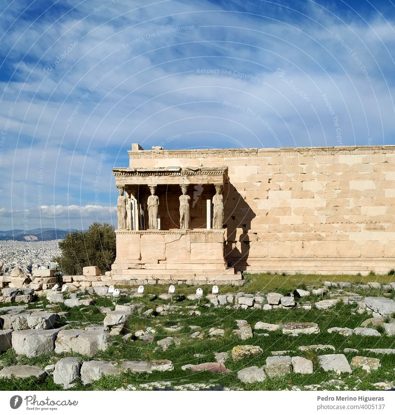 Old temple of athena in the acropolis of Athens history exterior archaeology landmark historic tour tourism greek europa antique ancient building athens statue