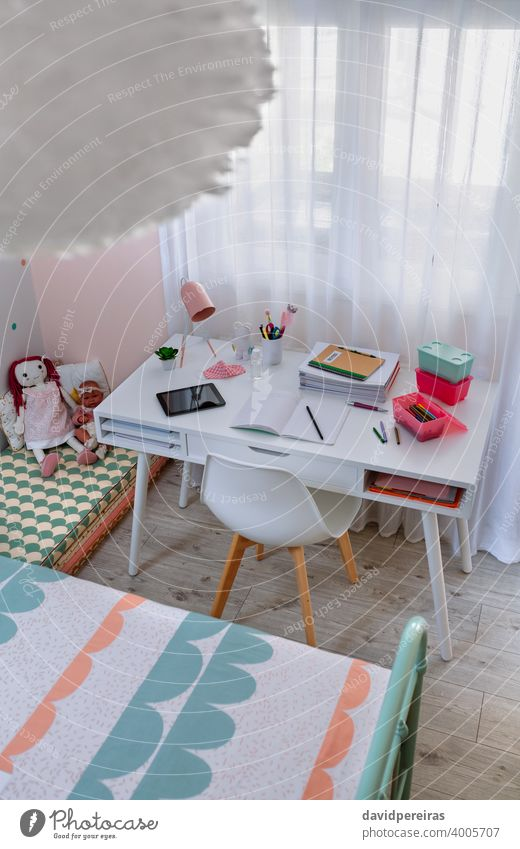Desk in girl's bedroom decorated in pastel colors girls bedroom top view white desk nordic decoration style sweet nobody mint green pink interior furniture