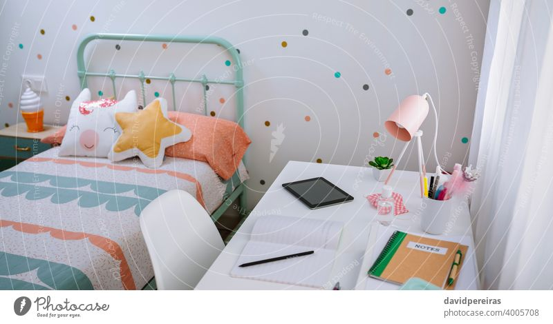 Girl's bedroom decorated in pastel colors girls bedroom desk decoration nobody mint green pink polka dots interior furniture design modern home contemporary