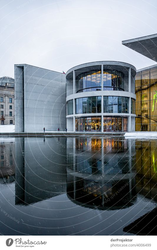 Paul Löbe House with reflection I Reichstag tranquillity lockdown Culture Art Downtown Berlin Congress building Manmade structures Building Colour photo