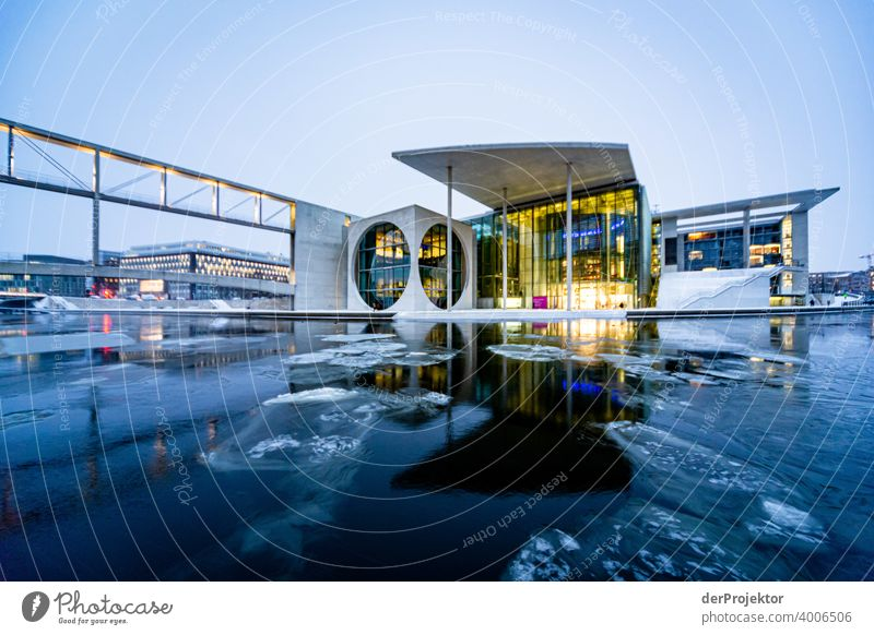 Marie-Elisabeth-Lüders-House with ice floes IV Reichstag tranquillity lockdown Culture Art Downtown Berlin Congress building Manmade structures Building