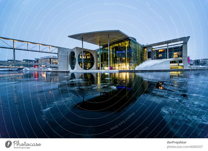 Marie-Elisabeth-Lüders-Haus with ice floes at the blue hour Reichstag tranquillity lockdown Culture Art Downtown Berlin Congress building Manmade structures