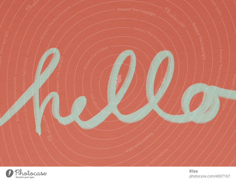 Handwritten word hello in blue on red background Welcome English Hello Hi authored handwritten Handwriting cursive Newsletter Typography calligraphy Text
