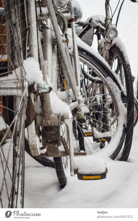 Bicycles in the snow Transport Sports Street Cycling Winter Snow Exterior shot Means of transport Traffic infrastructure Lanes & trails Mobility Town Movement