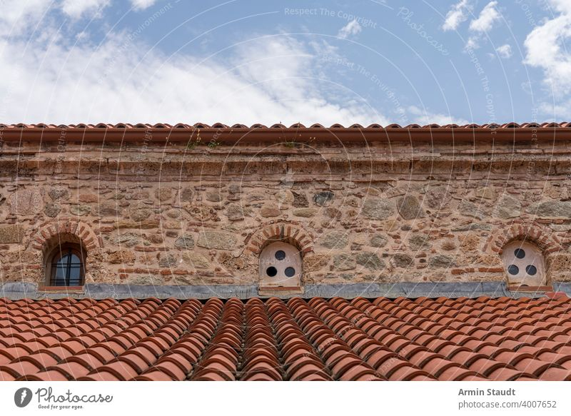 the roof of an old monastery, Greece Cloud ancient architecture building chapel church europe facade greece mediterranean natural stone red shingle sky small