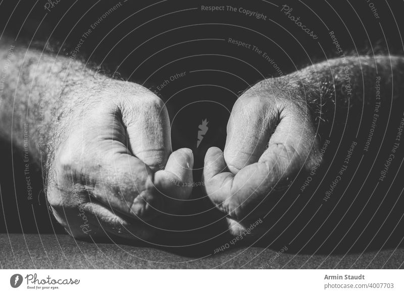 Close up of two hands squeezing their thumbs in black and white more adult Black black on white Bright Business bw Close-up Contrast Dark Expression Fingers