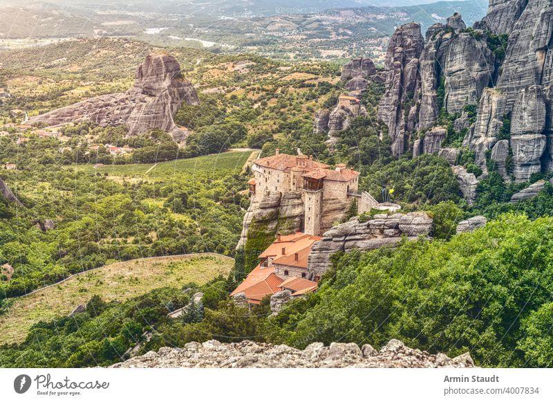 Monastery of St. Nicholas Anapavsa, Greece aerial ancient architecture beautiful christian christianity church cliff culture europe far greece greek hill